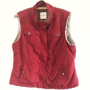 Sonoma Fleece Lined Red Vest Women's Large